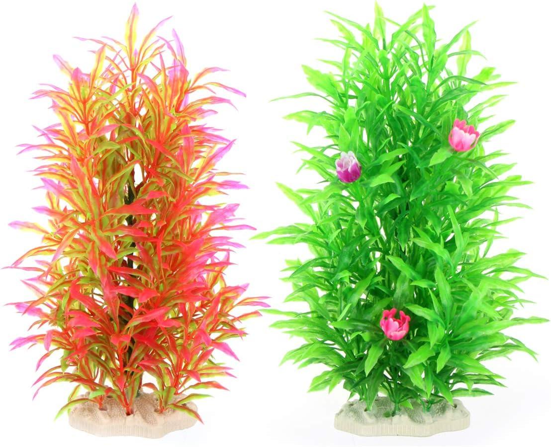 ALEGI Aquarium Decor Fish Tank Decoration Ornament Artificial Plastic Plant,9-inch