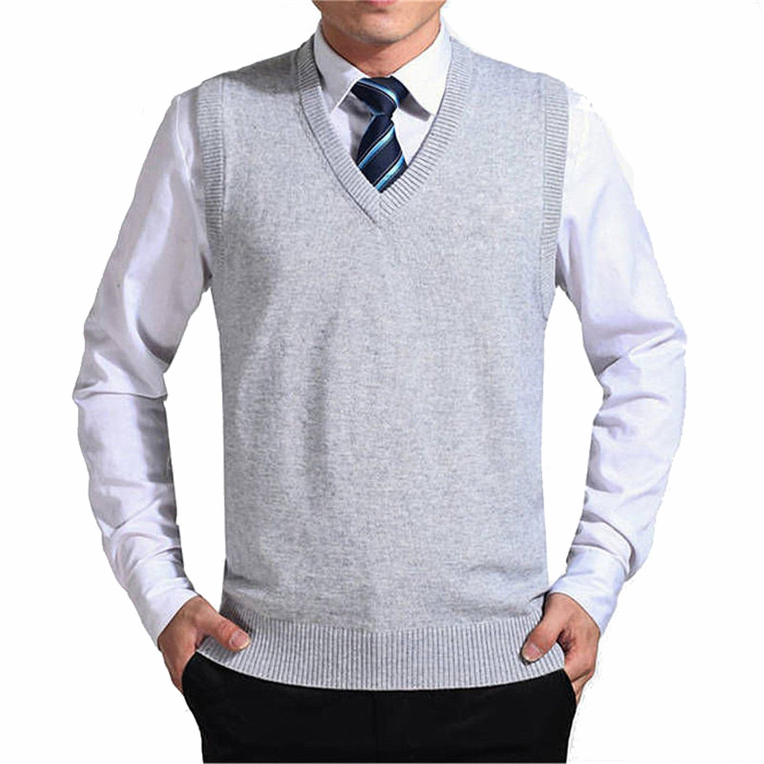 Reneem Solid Color Sweater Vest Men Cashmere Sweaters Wool Pullover V-Neck Sleeveless
