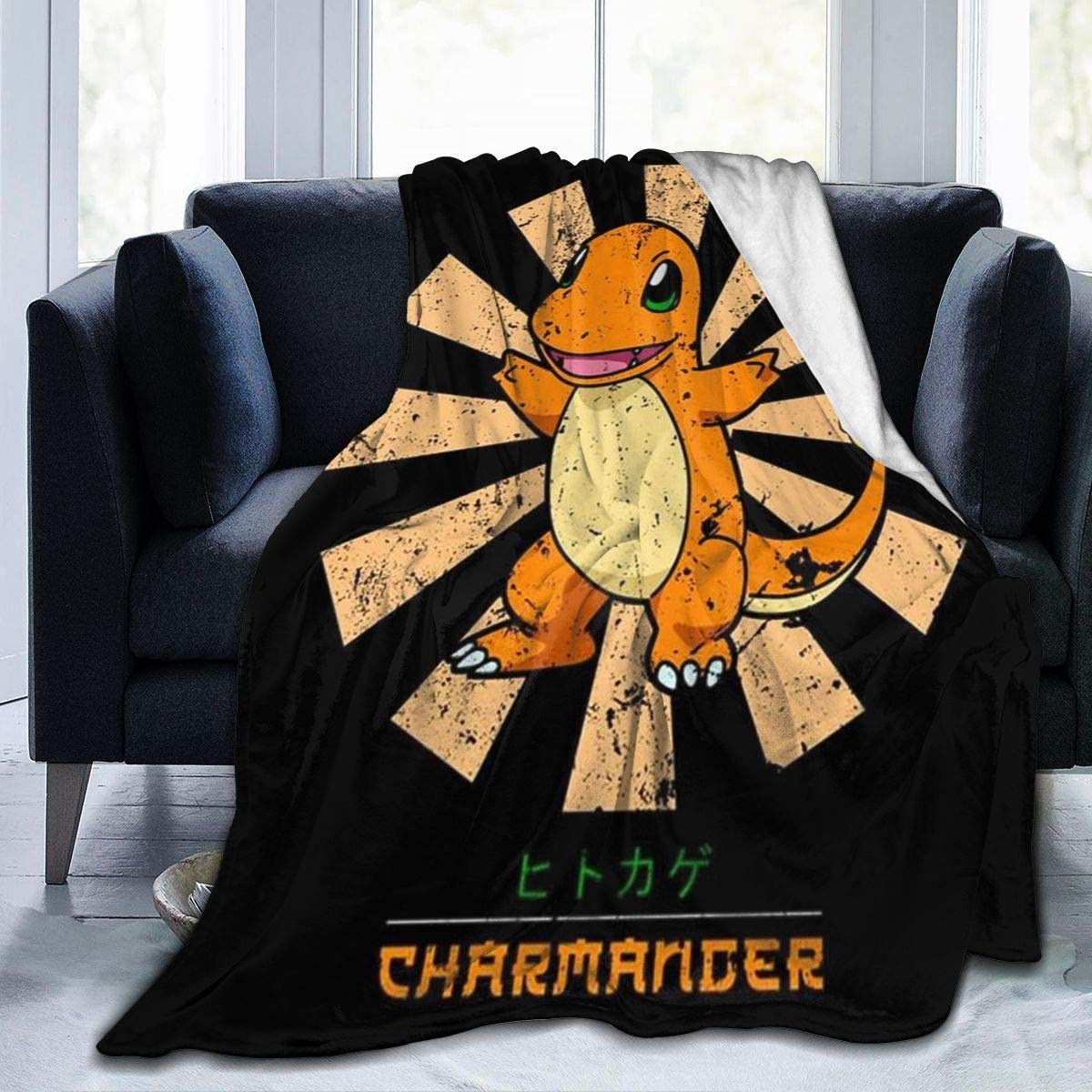 Poke-mon Charmander Retro Japanese Fleece Blanket Ultra-Soft Lightweight All Seasons Fit Bed Couch Chair Office Flight and Outdoors