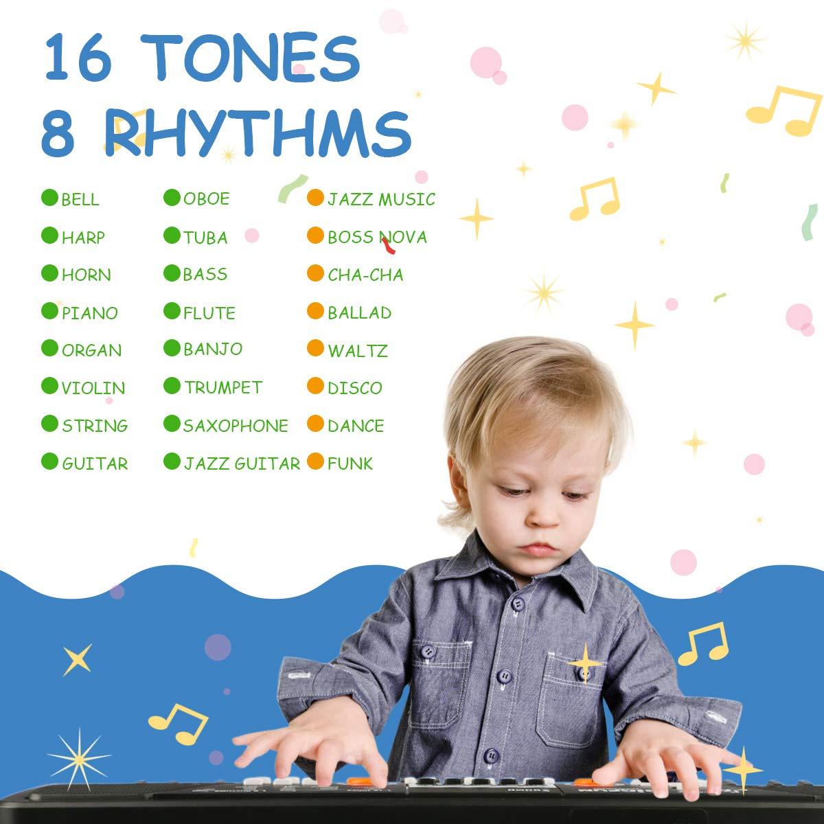 RenFox 49 Key Piano Keyboard Portable Electronic Kids Piano Keyboard Beginner Digital Music Piano Keyboard & Microphone Teaching Toy Gift for Kids Boy Girl by RenFox (Image #3)