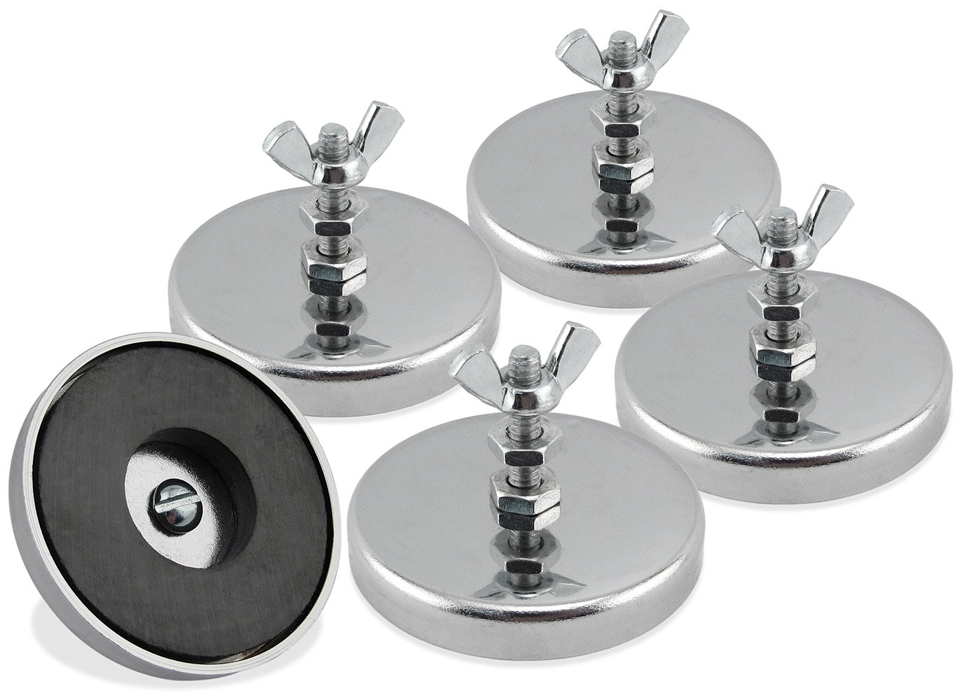 """Master Magnetics RB50B2NWX5 Ferrite/Low Carbon Steel Round Base Magnet Fastener with Bolt and Wing Nut, Chrome Plate, 2.04"""" Diameter, 1.25"""" Total Height, 35 lb, Silver (Pack of 5)"""