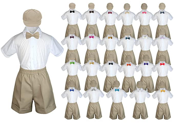 5b44004f5 Amazon.com: Baby Toddler Boy Wedding Party Suit Khaki Shorts Shirt Hat Bow  Tie Set Sm-4T: Clothing