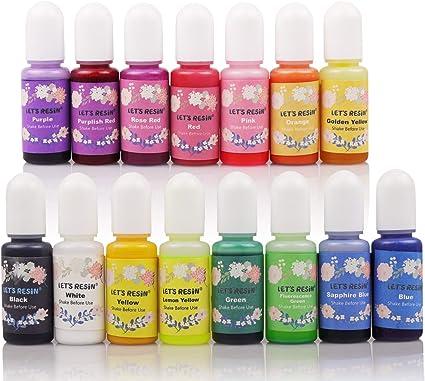 Epoxi pigmento de resina de 15 colores, colorante de resina líquida cada 0.35 oz, tinte de resina epoxi no tóxico, mezcla de tinte líquido para ...