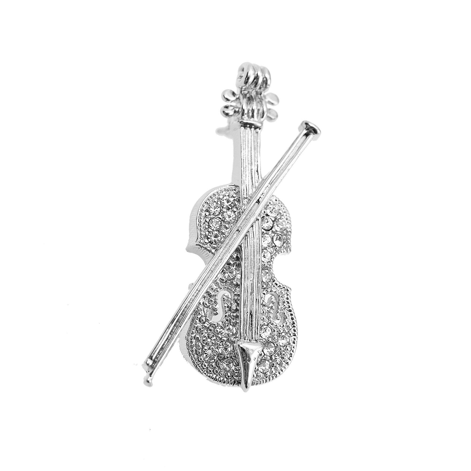 SpinningDaisy Tiny Jewel Crystal Cello with Bow Brooch Pin (Silver)