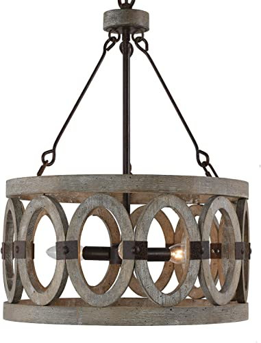 Farmhouse Chandelier Drum Pendant Light Fixture Hand-Painted Grey and White Finish