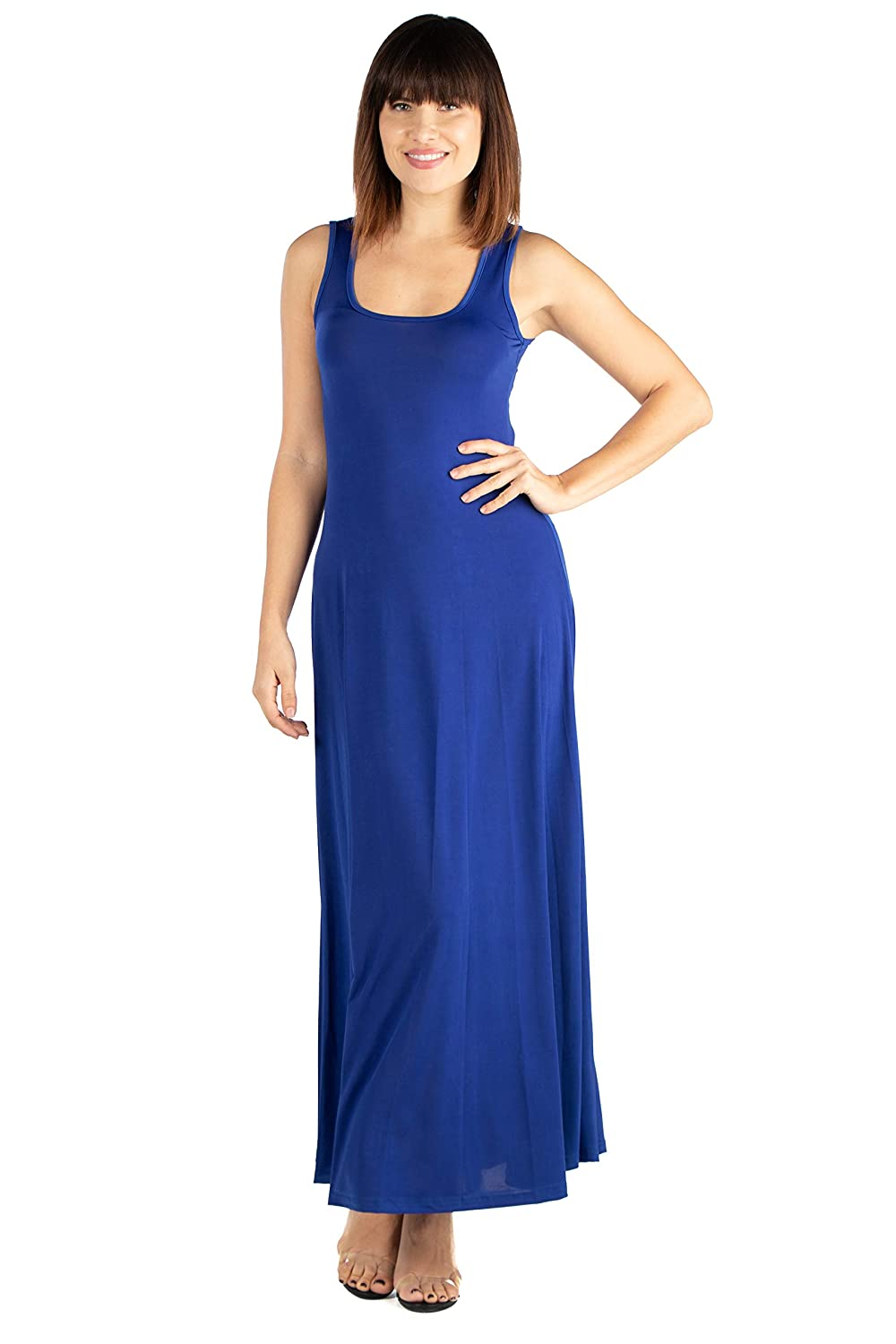 Made in USA Sizes S-1XL 24seven Comfort Apparel Simple A Line Racerback Tank Maxi Dress
