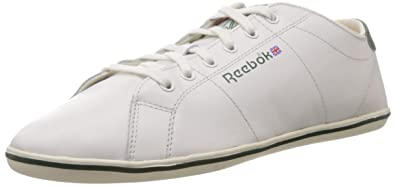 Reebok Classics Men's Cl Npc Plimsole Chalk,Team Dark Green and Excellent  Red Leather Sneakers