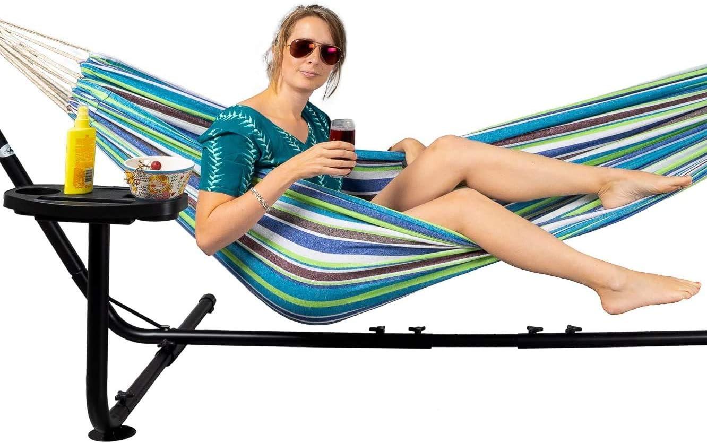 Borsa da Trasporto 210x140 con Porta-Bicchiere e Libri Fino a 2 persone//205 kg Blu//Verde VITA5 Amaca per Due in Cotone con Supporto
