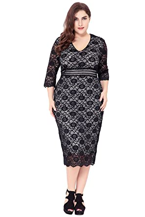 Tricandide Women\'s Plus Size Calf Length Lace Dress 3/4 Sleeve V ...