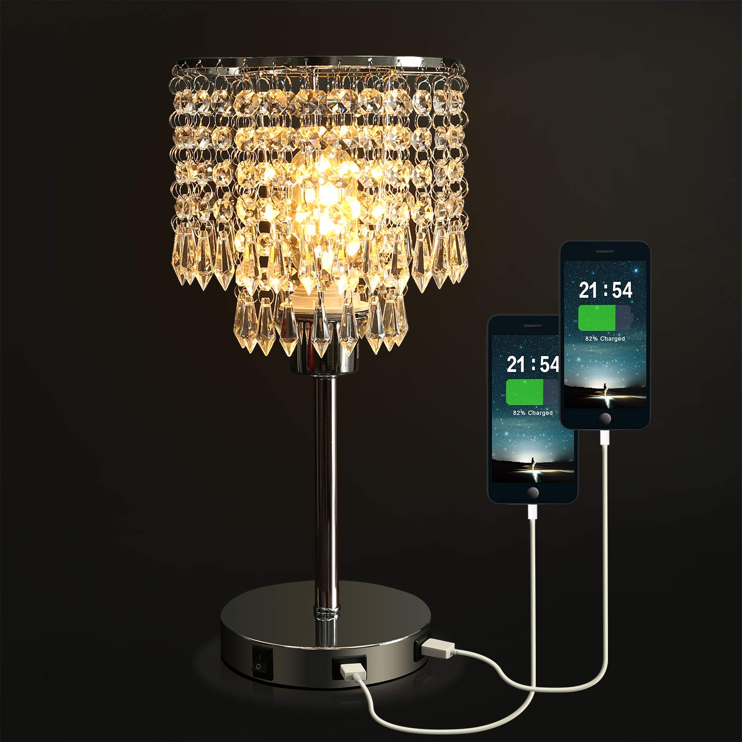 Crystal Bedside Table Lamp with Dual USB Charging Port, Acaxin Nightstand Lamp with Elegant Shade, Decorative Desk Lamp for Bedrooms/Living Room/Dining Room/Kitchen by Acaxin