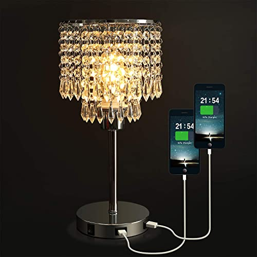 Crystal Bedside Table Lamp with Dual USB Charging Port, Acaxin Nightstand Lamp with Elegant Shade, Decorative Desk Lamp for Bedrooms Living Room Dining Room Kitchen