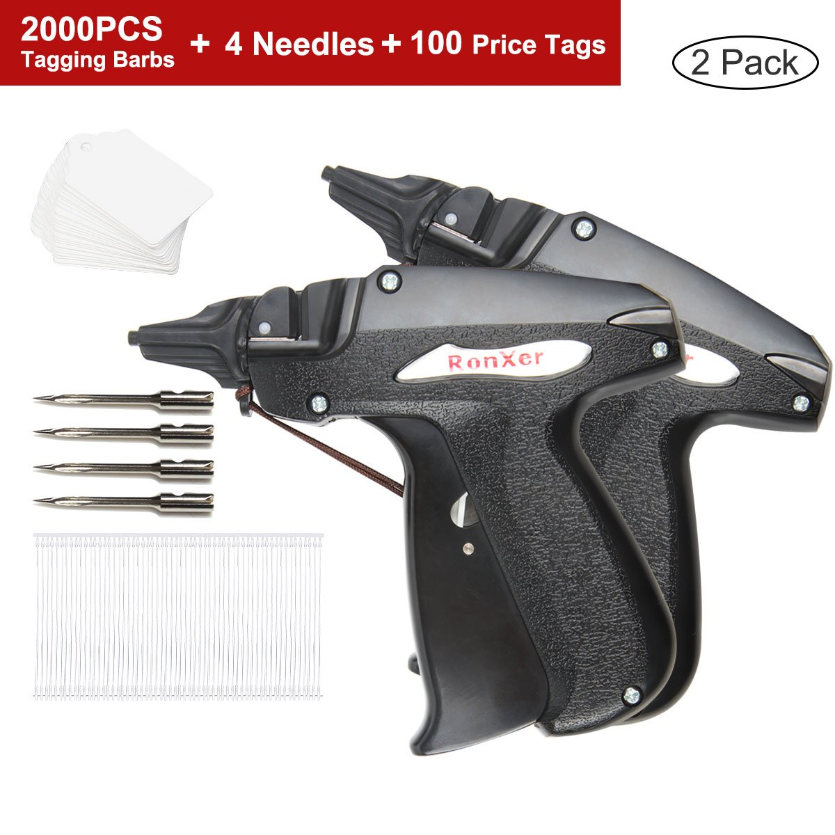 RonXer Standard Clothes Tagging Gun with 2000 2'' Attachments and 4 Carbon Steel Standard Needles 100 Price Tags,Standard Price Tag Gun Kit for Consignment Sale Family Yard Sale Garage Sale Boutique
