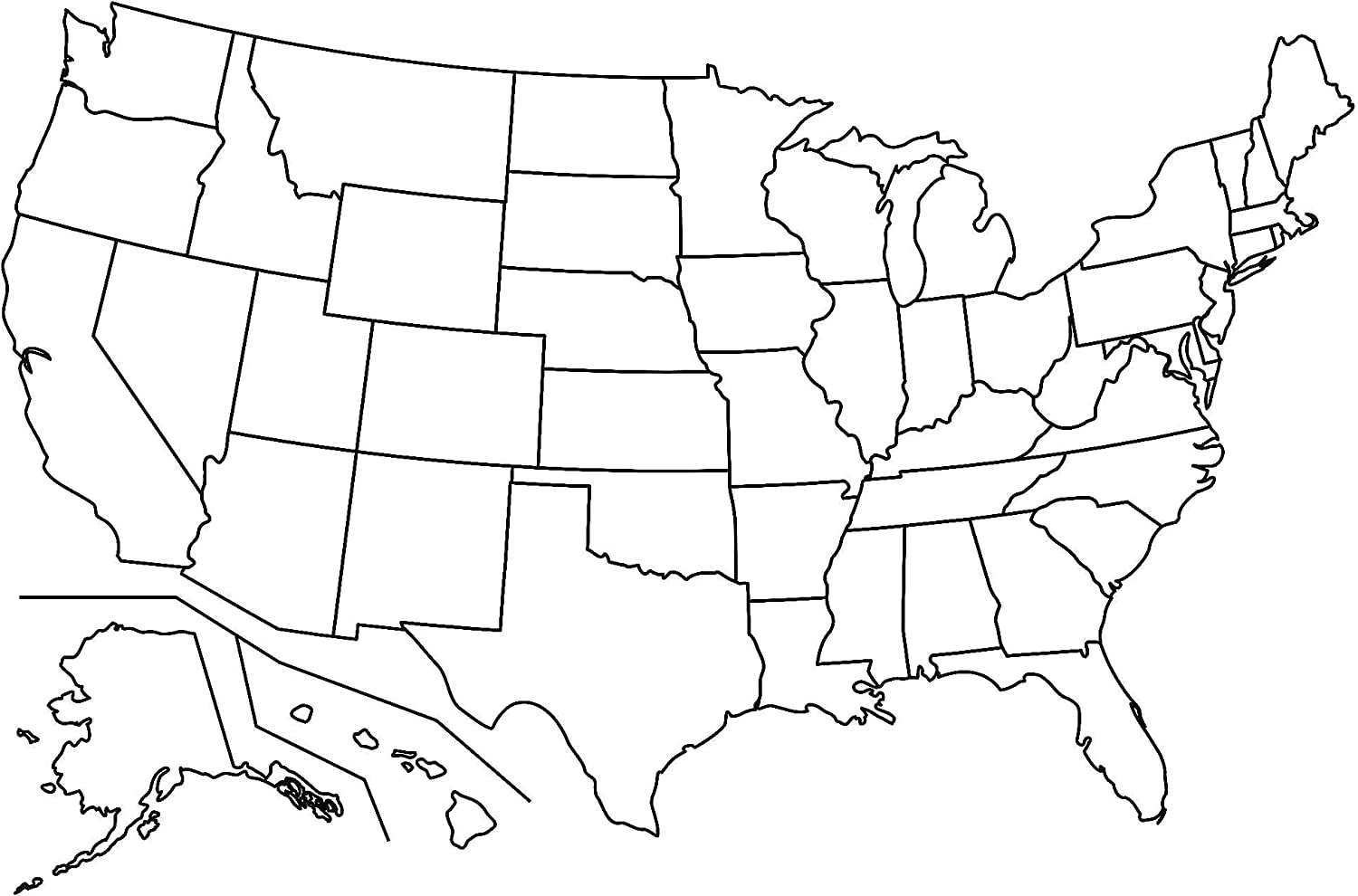 Black And White Map Of The Us Amazon.com: Map   Us Map No Labels Blank Simple of United States