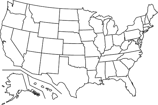 Us Map With Labels Amazon.com: Home Comforts Map   Us Map No Labels Blank Simple of