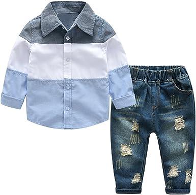 Wallfire 1Y-7Y - Conjunto de 2 Camisetas de Manga Larga para niño + Pantalones Vaqueros para Caballero y Ropa para niños: Amazon.es: Ropa y accesorios