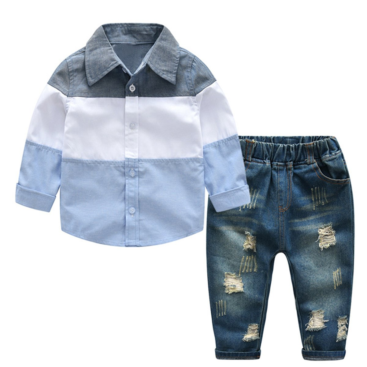 2-7T Kids Boys Gentleman Outfits Stripe Shirt Tops Denim Pants Jeans Clothes Set (4T, Light Blue+Grey)