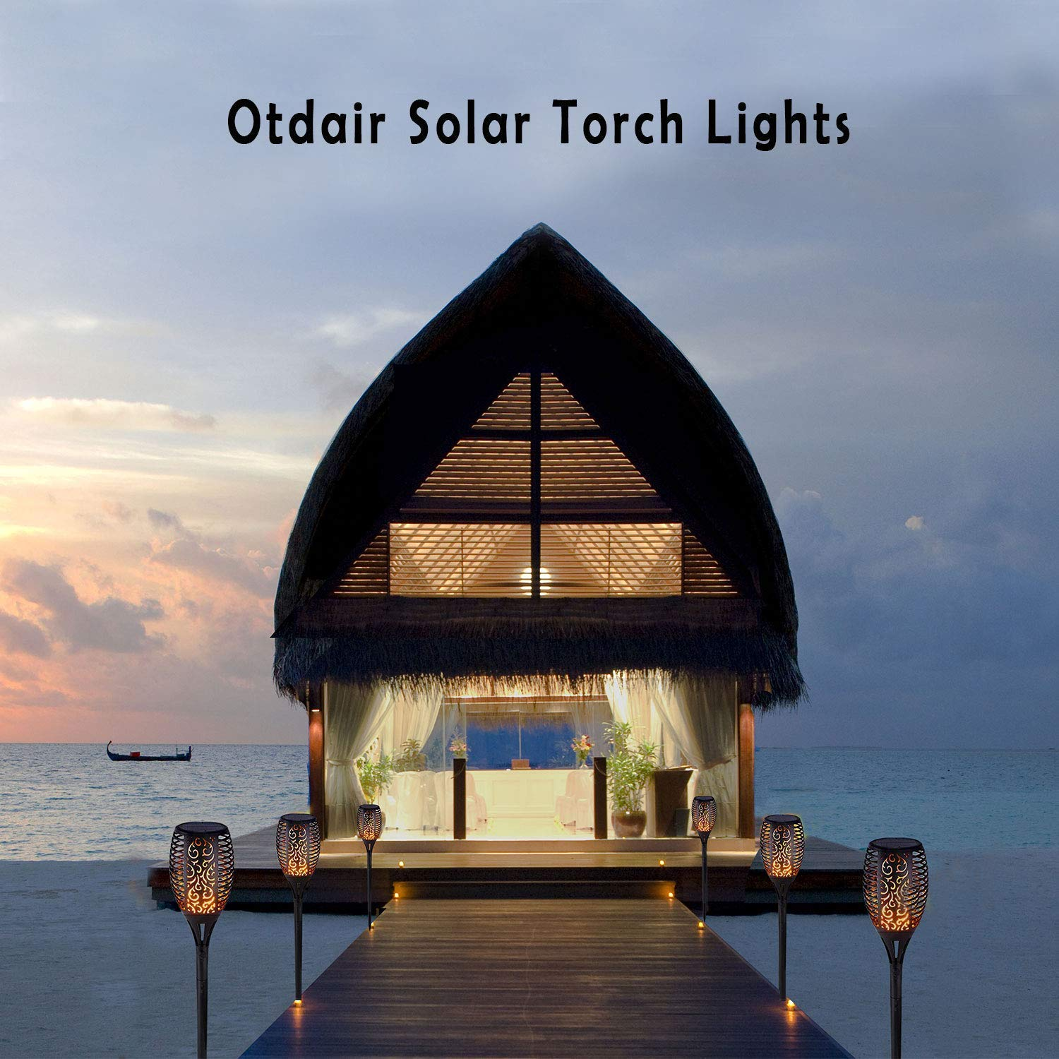 Otdair Solar Lights Outdoor Waterproof Dancing Flickering Flame Torch Lights Solar Spotlights Landscape Decoration Lighting Dusk to Dawn Auto On//Off Security Torches for Patio Garden 2 Pack YHJ-001