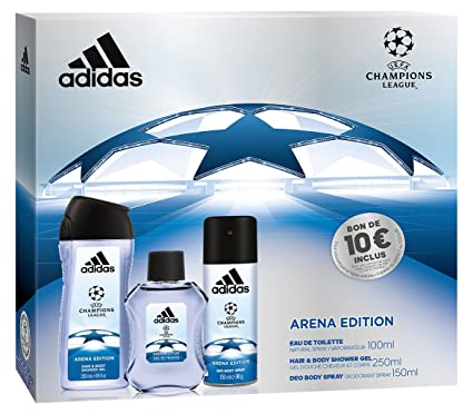 7a9c37fe4bb1 Adidas UEFA 3 Arena Edition Set 3 Prodotti Eau de Toilette 100 ml + Deodorante  150 ml + Gel Doccia 250 ml: Amazon.it: Bellezza