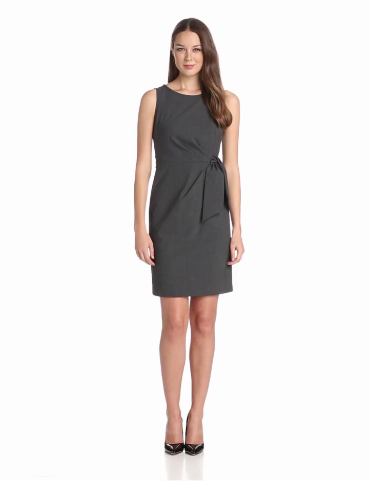 Anne Klein Womens Sleeveless Suiting Dress with Asymmetrical Tie