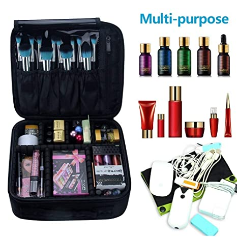 Travel Makeup Train Case Makeup Cosmetic Case Organizer Portable Artist Storage Bag with Adjustable Dividers for Cosmetics Makeup Brushes Toiletry ...