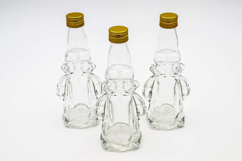 Botellero – 3 x Botellas de Cristal vacías 200 ml Papá Noel: Mini Botellas de Cristal con Cierre de Rosca utilizables como pequeñas Botellas para ...