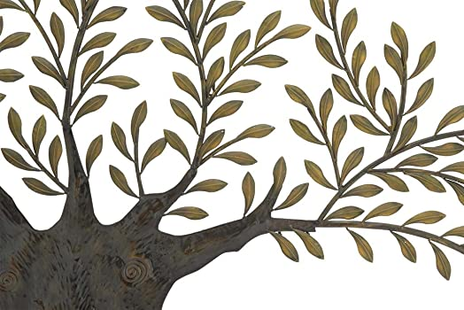 Benzara BM06172 Decorative Metal Branch Wall Decor With Leaves, Bronze