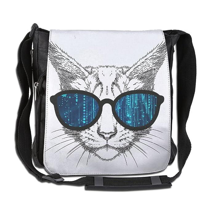 1f071af5ba2e Image Unavailable. Image not available for. Color: NYYSBU Crossbody Messenger  Bag Head Cat Glasses ...