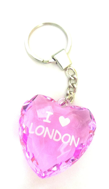 I Love London llavero en forma de corazón de cristal rosa ...