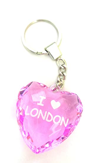 Amazon.com: I Love Londres Llavero en rosa/rosa vidrio Forma ...