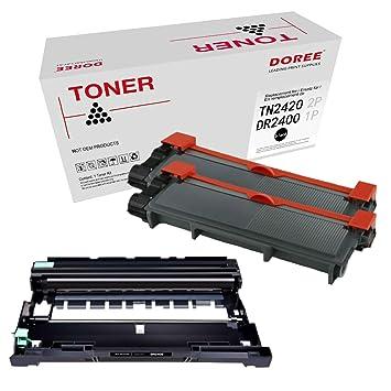 DOREE 3 Pack (1 Tambor + 2 tóner) Compatible Brother DR2400 ...