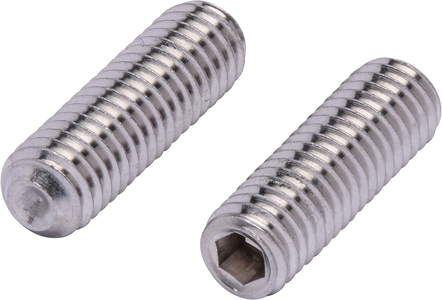 Cup Point Hex Socket Set Screws Full Thread 18-8 40 pcs AISI 304 Stainless Steel 3//8-16 X 1//2