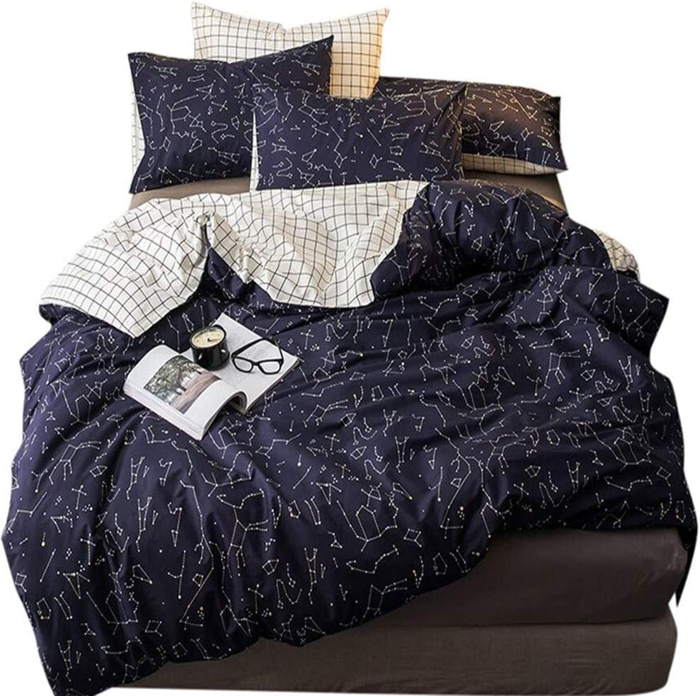 100 Cotton Bedding Sets Boy Girl Constellation Star Printed Single Bed Duvet Cover Sets Twin Zipper Reversible White Black Checkered Geometric Comforter Bedding Cover Sets For All Seasons Kitchen Dining