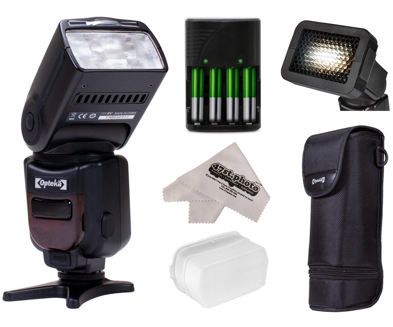 Opteka Pro E-TTL Auto-Focus Dedicated Flash + Case for Canon EOS 80D, 77D, 70D, 60D, 60Da, 50D, 7D, 6D, 5D, 5DS, 1DS, T7i, T7s, T7, T6s, T6i, T6, T5i, T5, T4i, SL2 & SL1 Digital SLR Cameras OPIF980C