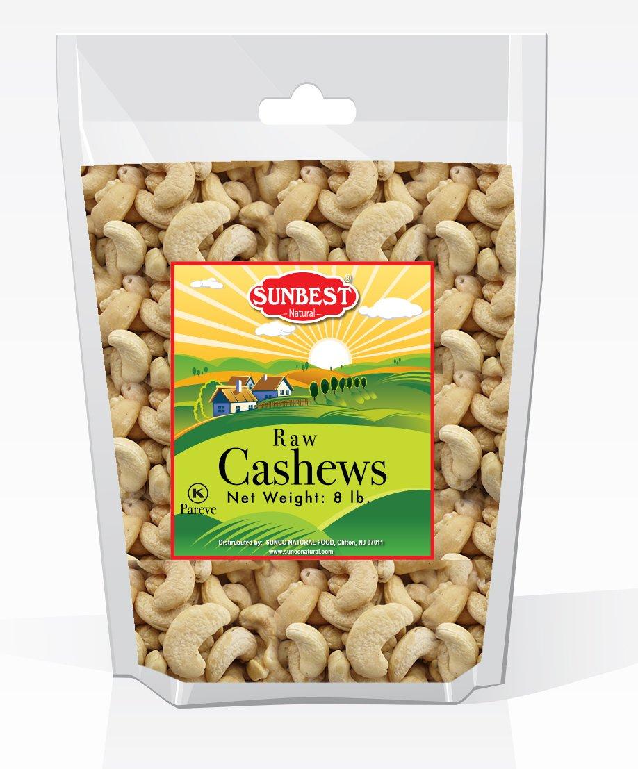 SUNBEST Natural Shelled Whole Raw Cashews (8 Lb)