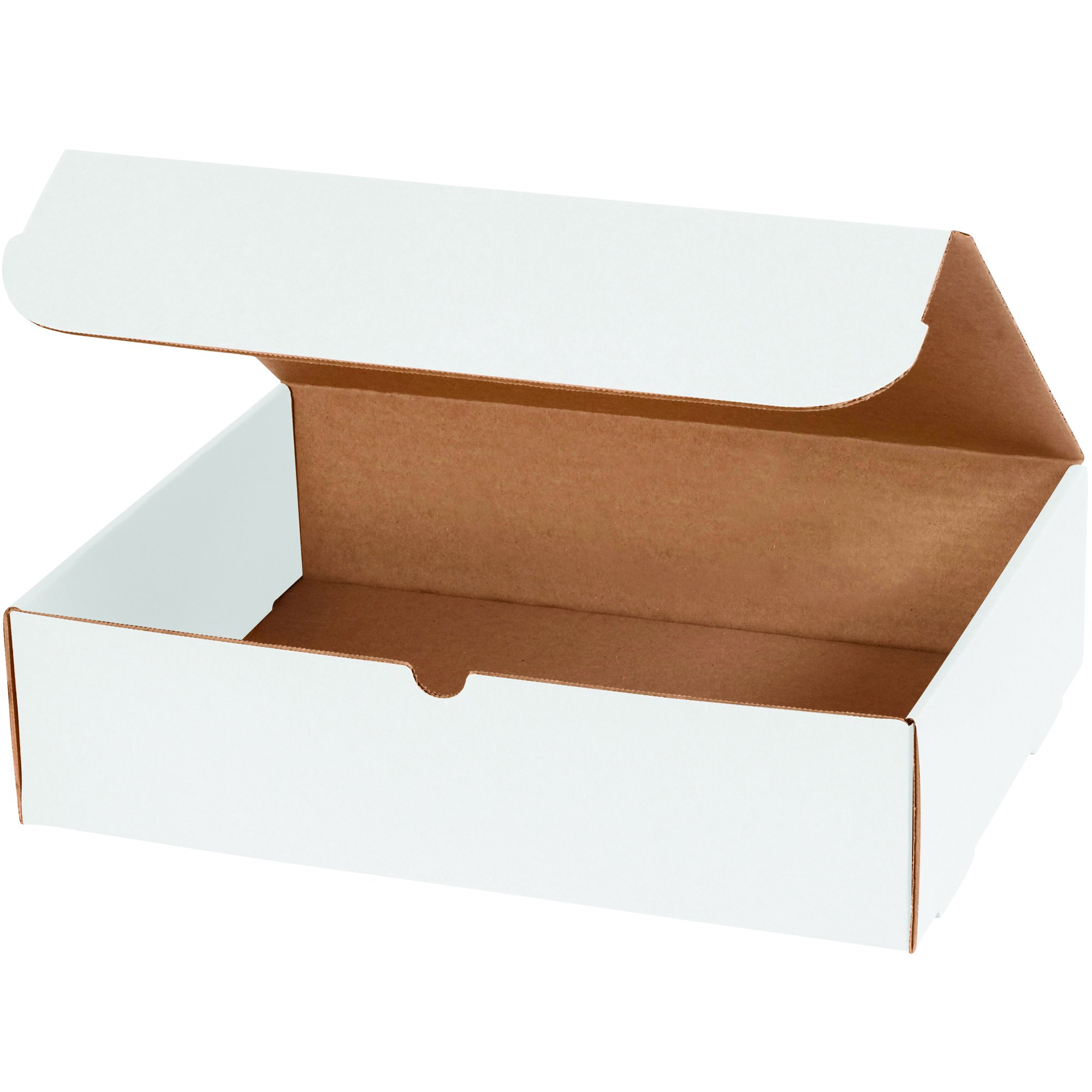 Boxes Fast BFMIBMS1000 Corrugated Cardboard Literature Mailers, 15 1/8 x 11 1/8 x 4 Inches, Tuck Top One-Piece, Die-Cut Shipping Boxes, Large White Mailing Boxes (Pack of 50)