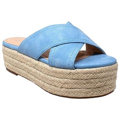 01441f9ea42 SOBEYO Womens Platform Sandals Wedge Flatform Slides Criss Cross Strap  Espadrilles Blue SZ 6