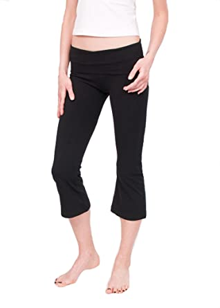 Amazon.com: Hard Tail Foldover Cropped Bootcut Yoga Pants - Black ...