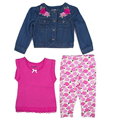 0f02401687d3 Amazon.com  Nannette Baby Girls 3 Piece Denim Jacket Outfit Set ...