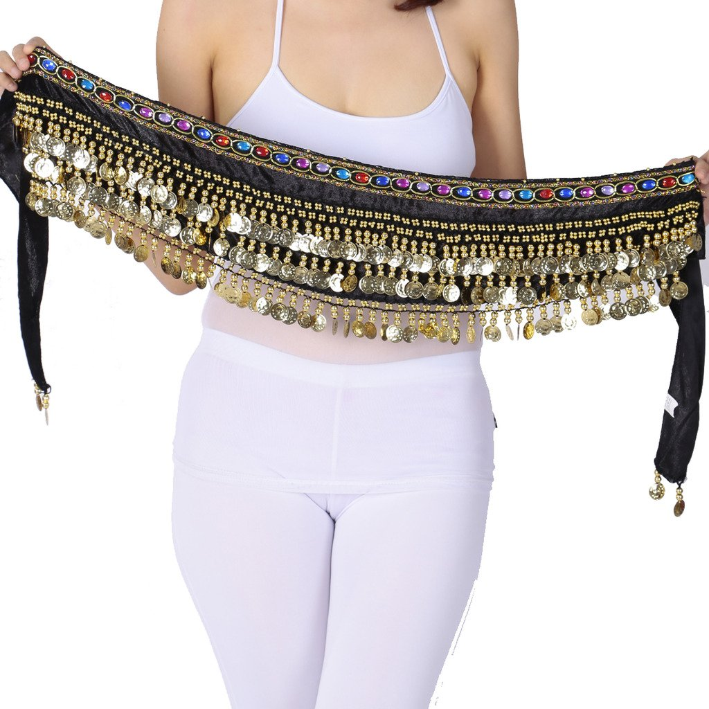 0f86bf2c48 Amazon.com  Belly Dance Flannel Hip Scarf With Coins and Colors Diamend  Black  Clothing