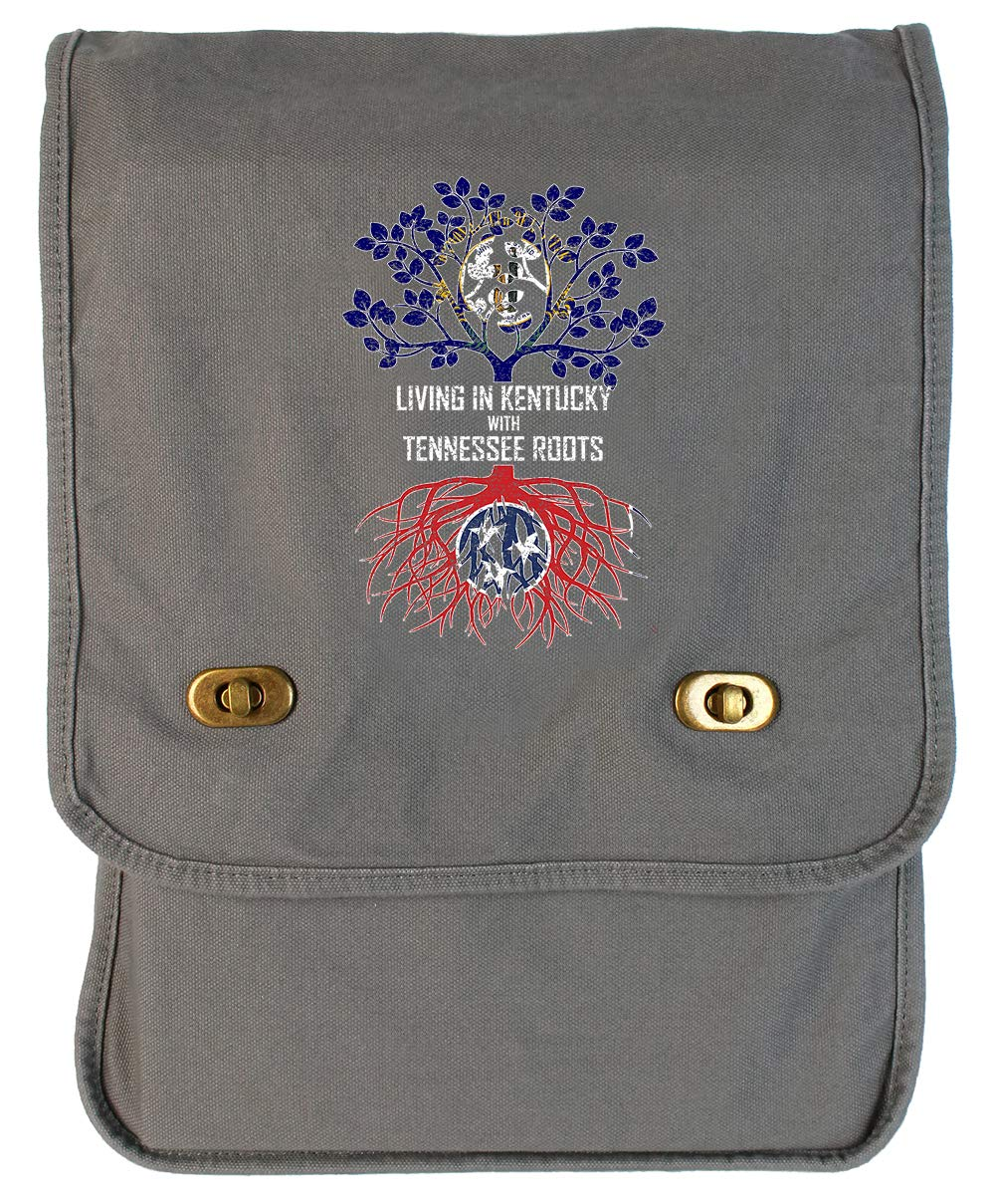Tenacitee Living In Kentucky with Tennessee Roots Grey Brushed Canvas Messenger Bag