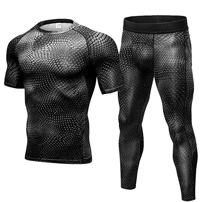 FITIBEST Hombre 2 Piezas Conjunto de Ropa Deportiva Camiseta de Compresión  Manga Corta y Pantalones para Running 12f09d2c8e1bb