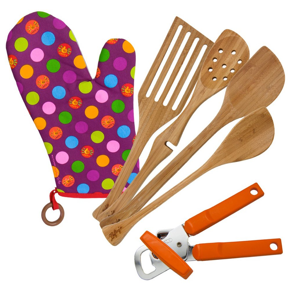 Lefty's Kitchen Tool Set Includes Left Handed Can Opener, Oven Mitt and 4 Bamboo Utensils, 6 Pcs.