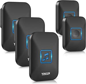 Wireless Doorbell, YINXN IP55 Waterproof Doorbell Chime Kit Operating at 1000 Feet Range with 3 Plug-in Receivers, LED Flash Light with 5 Level Volume, 60 Chimes for Home, Office