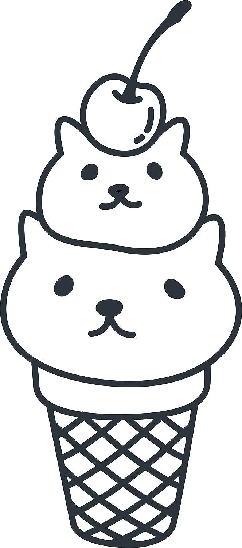 Amazon com cute kawaii kitty cat ice cream cone cartoon emoji vinyl sticker black white automotive