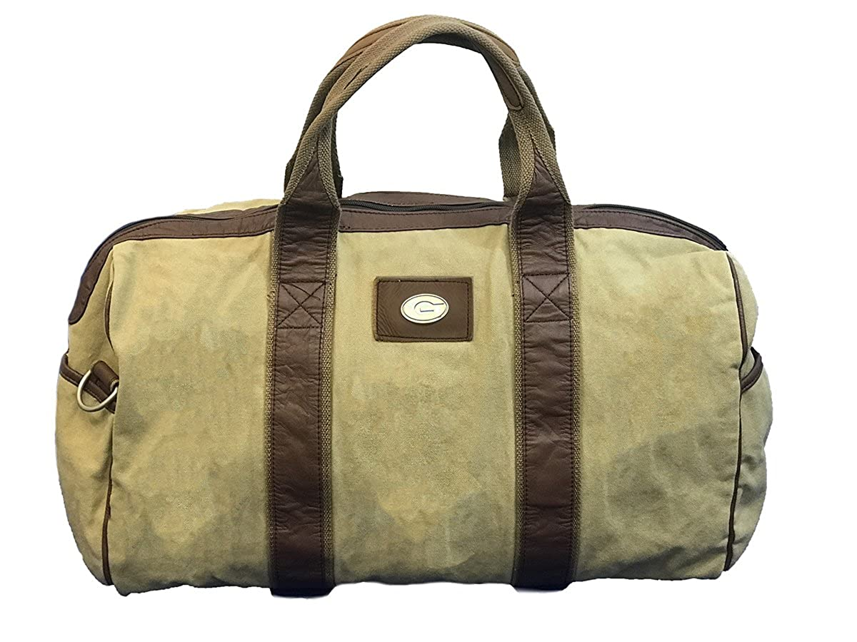 Beige//Tan Canyon Outback Leather University of Georgia Canvas Duffle Bag