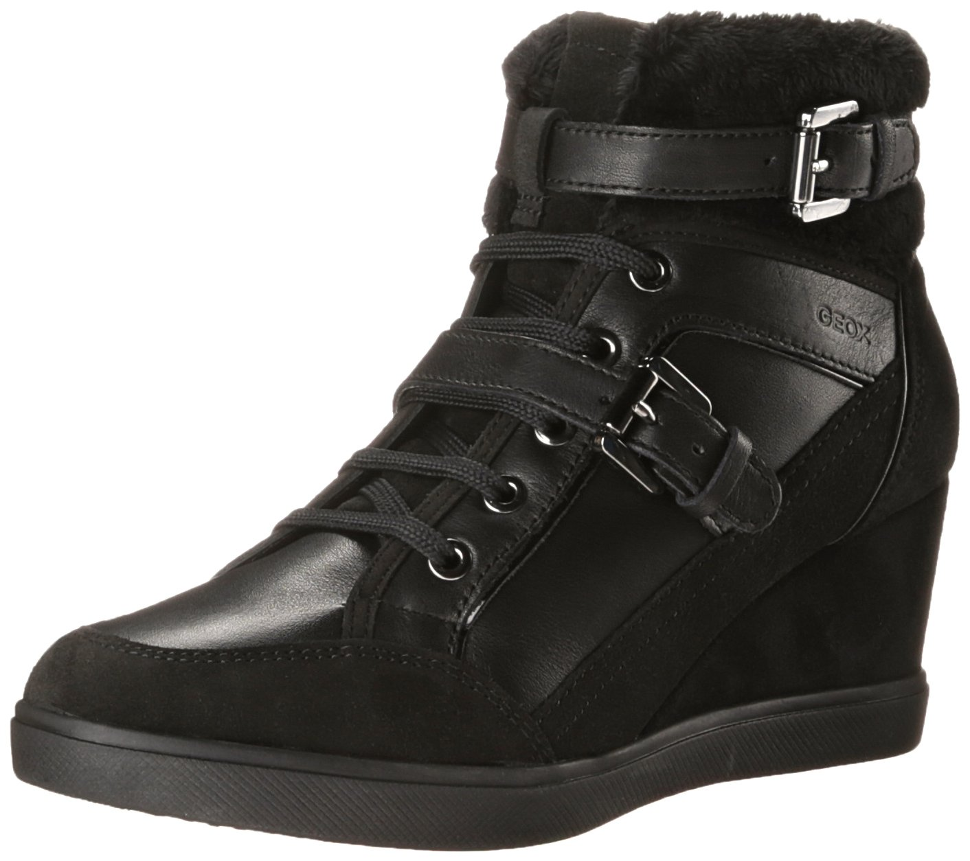 Geox D Eleni D Womens Leather Wedge Sneakers / Boots-Black-10