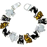 Pet Jewelry Cat Bracelet Kitty Black White and Brown with Magnetic Closure PammyJ