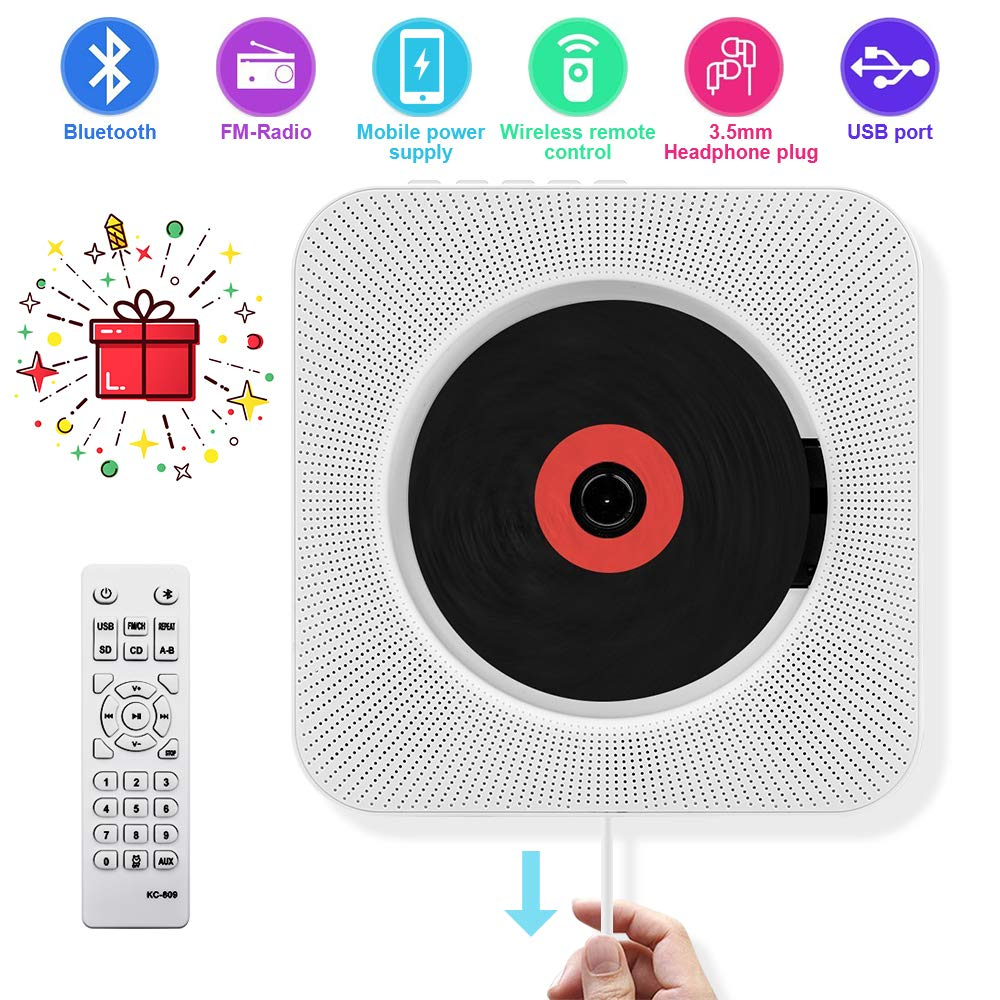 CD Player with Bluetooth - Portable CD player-01 Wall Mountable, Remote  Control, FM Radio HiFi Speaker, Supports USB, Earphones and Phone Charging  by