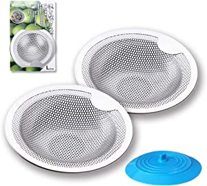 Sink Drain Strainer, 2Pcs Kitchen Sink Strainer Drain Catcher with 1Pcs Silicone Drain Stopper Cover, Stainless Steel Basket Catch with Handle for Most 3-1/2 Inch Kitchen Drains