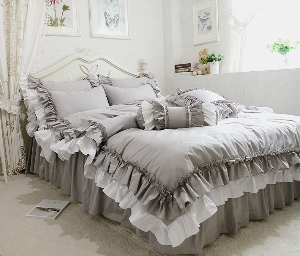ホワイトとグレーのフリルは二層になり 綿100%掛け布団カバーと枕カバーとベッドスカート B076ZXFLF9グレー シングル
